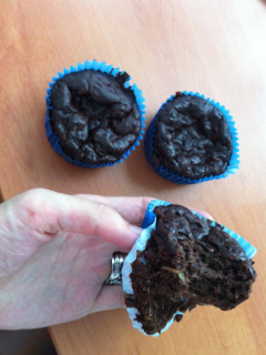 Chocolate zucchini muffins inside